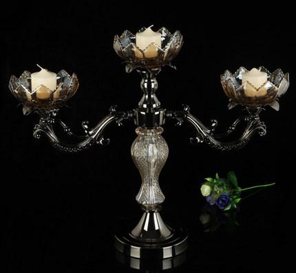 精緻품질-蓮花水晶玻璃燭台 復古奢華浪漫燭台十天預購+現貨