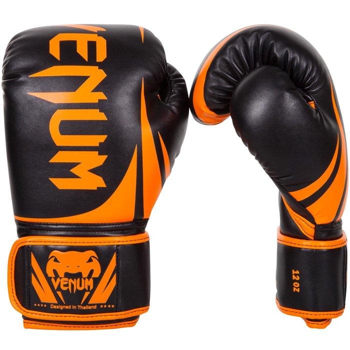 MMA名牌VENUM 10oz 橘黑挑戰者手套~VENUM初學者訓練用拳套-10oz橘黑色