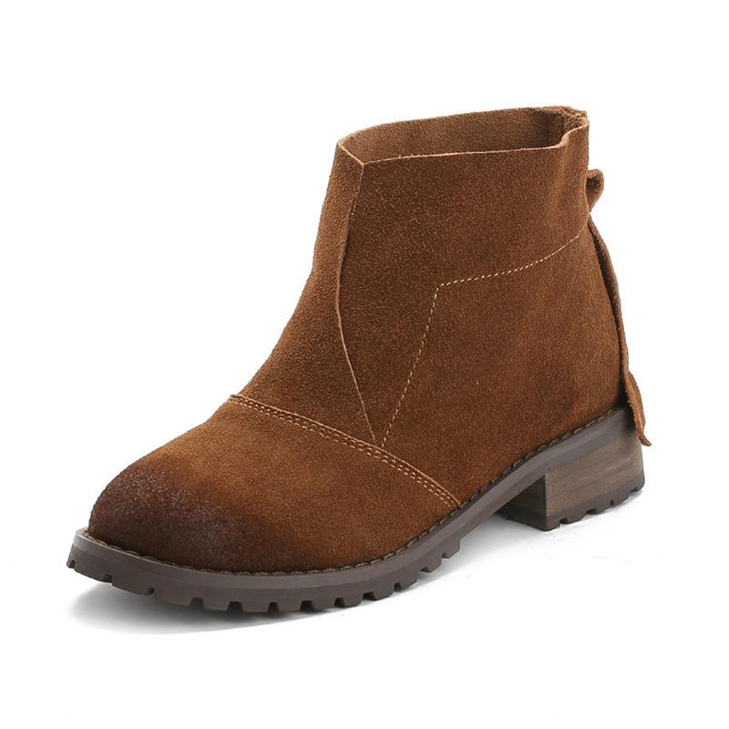 真皮2016歐美秋冬短靴磨砂牛皮復古女靴粗跟厚底馬丁靴騎士靴裸靴