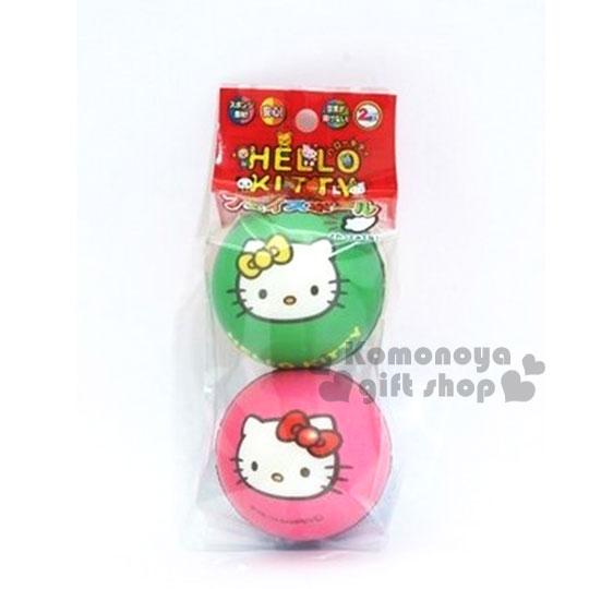 〔小禮堂〕Hello Kitty 皮球玩具《2入一組.綠粉》適合3歲以上孩童