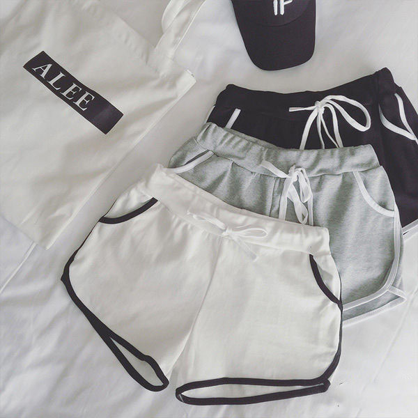 PS Mall 運動短褲鬆緊腰系帶休閒熱褲跑步褲【T1697】