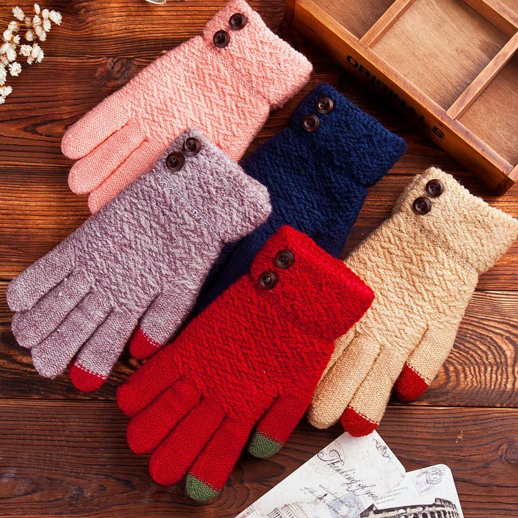 鈕扣冬季加厚保暖針織觸控手套《不挑色》