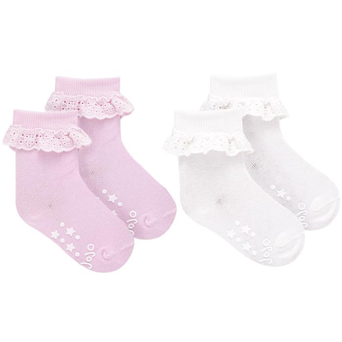 【HELLA 媽咪寶貝】英國 JoJo Maman BeBe 柔細寶寶兒童短襪/棉襪 2入組_粉白荷葉 (JJS2-001)