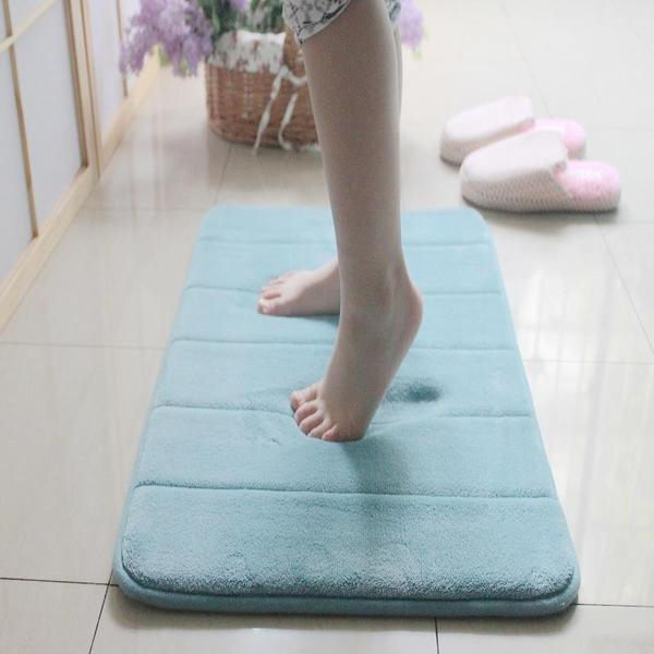 PS Mall 記憶棉吸水防滑地墊加厚珊瑚絨 廁所浴室地毯【J1339】