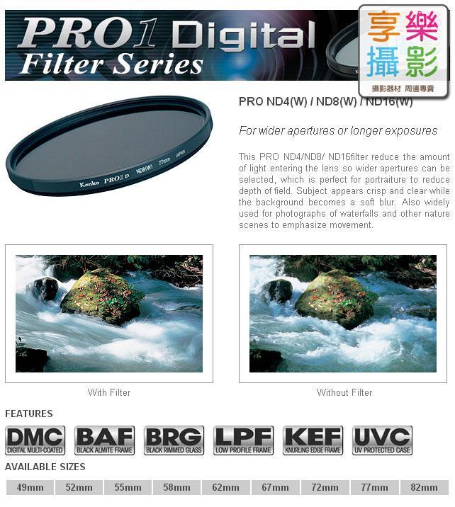 [享樂攝影] 公司貨 日本 Kenko ND16 Pro1D 77mm 減光鏡 DMC 超薄框 多層鍍膜 濾鏡 減四格 HOYA 代工 FTNDKK6P1D77