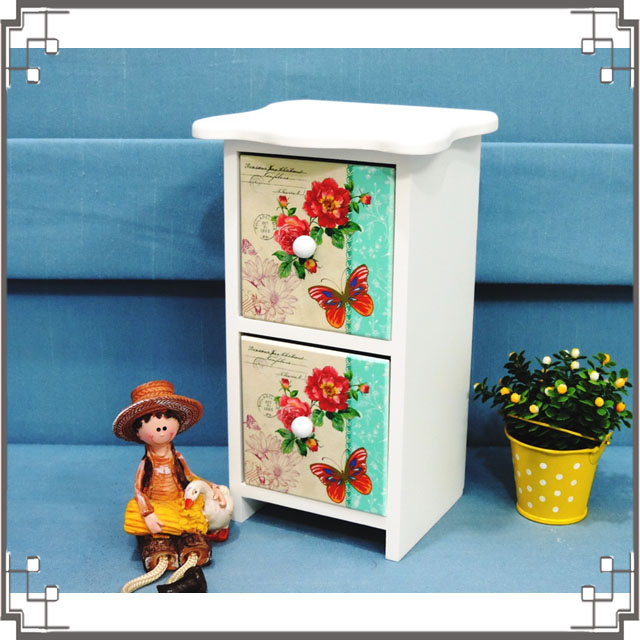 ↙8折↘洗白浪型二抽櫃《2H5》鄉村花朵桌上型二抽櫃 收納櫃 飾品珠寶盒 居家布置◤彩虹森林◥