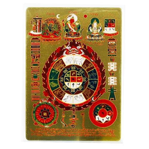 佛教藏密吉祥八卦九宮咒輪(文殊九宮八卦)-隨身護身卡/唐卡-銅箔(大)(PBC056)