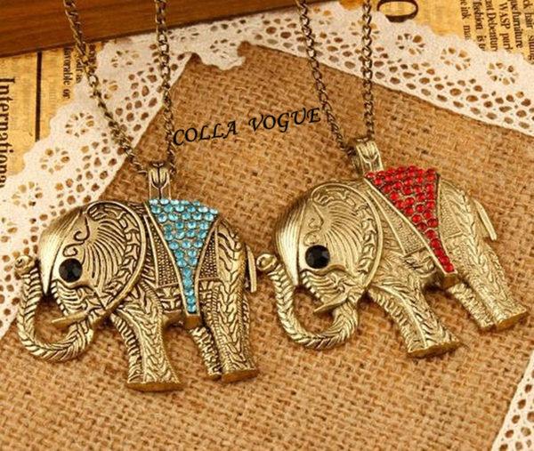 ✻蔻拉時尚✻ [ASB59] 復古流行 時尚泰國大象造型項鍊 懷舊 迷人