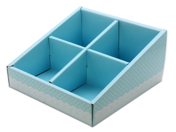 外帶盒、紙盒、包裝盒 4格 G14575-2(藍底白點花邊)5 pcs含透明盒、附內格
