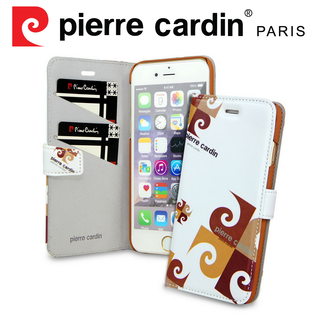 [ iPhone SE/5/5S ] Pierre Cardin法國皮爾卡登4吋玩趣LOGO書本側翻式手機套/保護套/皮套 棕色