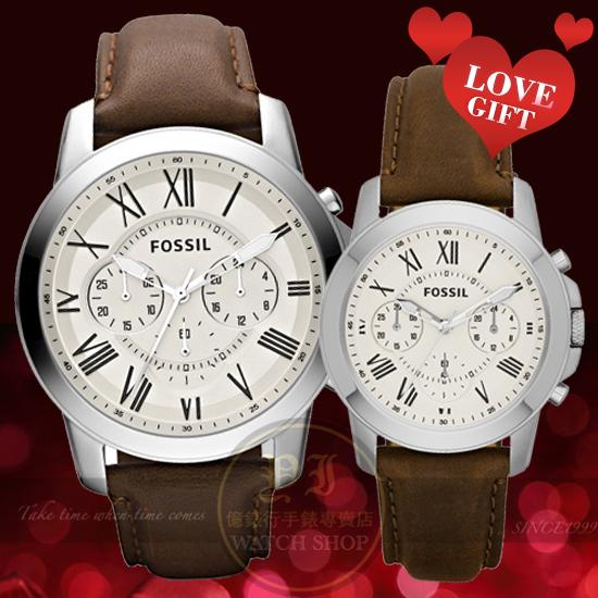 FOSSIL美式休閒品牌Grant羅馬情人皮帶對錶-公司貨/禮物/情人FS4735/FS4839