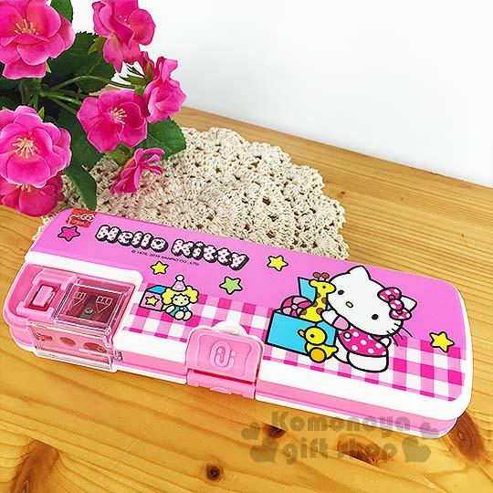 〔小禮堂〕Kitty 多功能筆盒《粉白格紋.側站.玩具箱.星星》雙開式