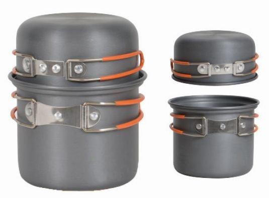 【露營趣】中和 附D型扣 犀牛 RHINO K-1 單人輕便套鍋 個人鍋具 餐具 一鍋一蓋 碗 湯鍋 適登山.露營