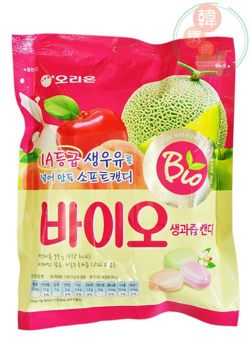 【韓購網】韓國好麗友水果軟糖99g★哈密瓜、水蜜桃、蘋果三種口味★韓國零食糖果