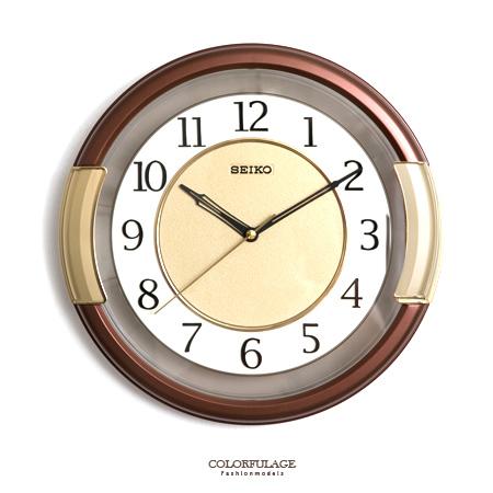SEIKO精工掛鐘 典雅咖啡色粗框設計 簡約數字雙圈時鐘 提升居家生活 柒彩年代【NE1617】原廠公司貨