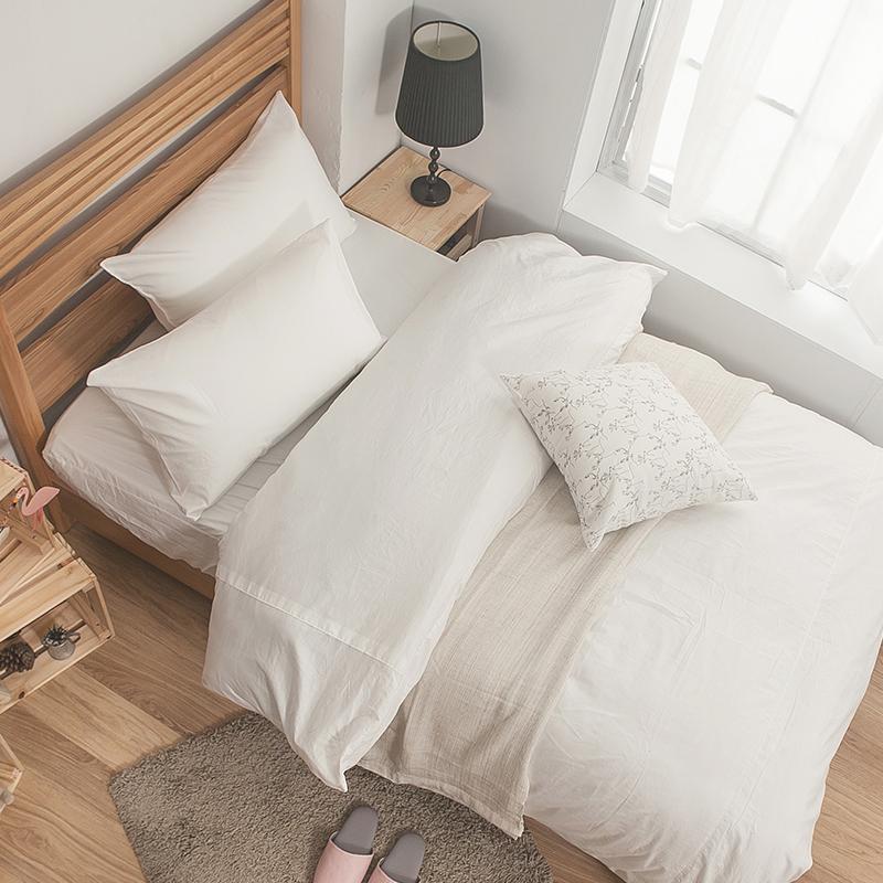 床包被套組 / 雙人加大-100%精梳棉【素色系列-白色】含兩件枕套,戀家小舖,台灣製SS01-AAA312
