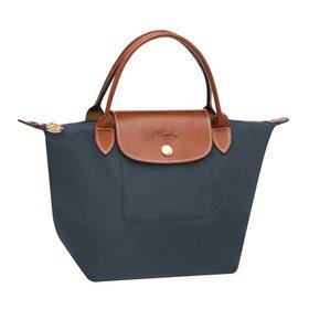 [短柄S號]國外Outlet代購正品 法國巴黎 Longchamp [1621-S號] 短柄 購物袋防水尼龍手提肩背水餃包 石墨灰