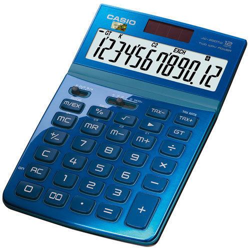 【CASIO 卡西歐 計算機】 Stylish JW-200TW-BU 藍色桌上型計算機12位