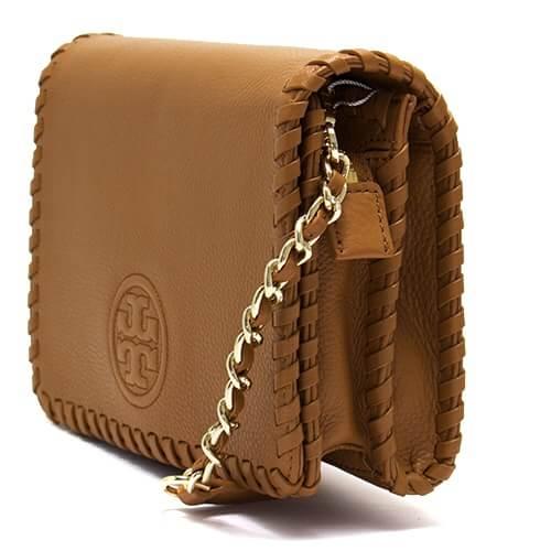【Tory Burch】編織鍊條多夾層斜背包(棕)