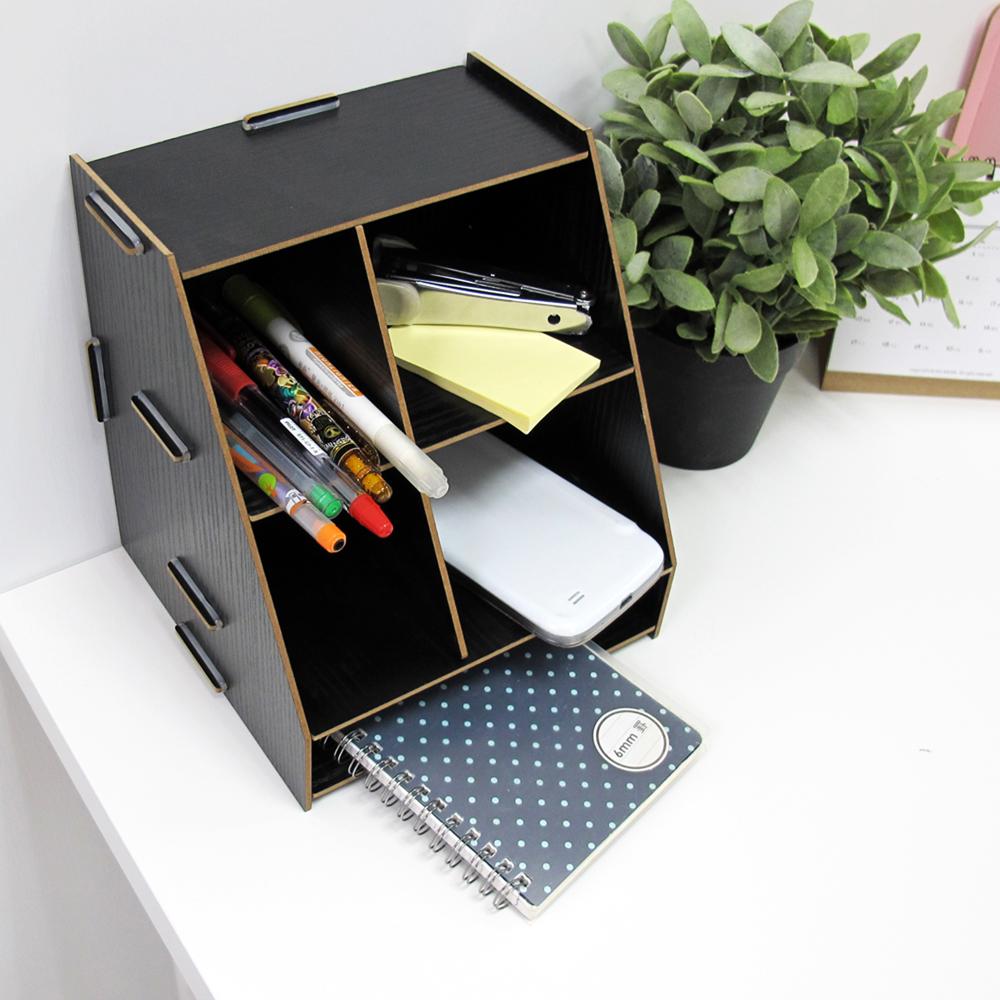 木質桌面桌上收納盒 隔板自由調整 收納櫃整理櫃 居家辦公室文具架【SV5012】快樂生活網