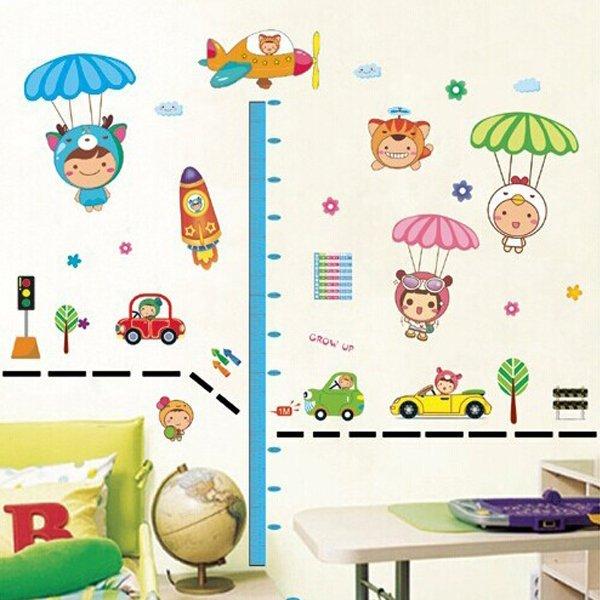 BO雜貨【YV0653】DIY時尚裝飾組合可移動壁貼 牆貼 壁貼 創意壁貼 降落傘身高貼XY8101