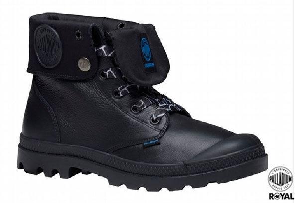 Palladium 新竹皇家 Palladium Baggy 黑色 皮質 防水 爆裂紋 反摺靴 男女款 NO.A7285