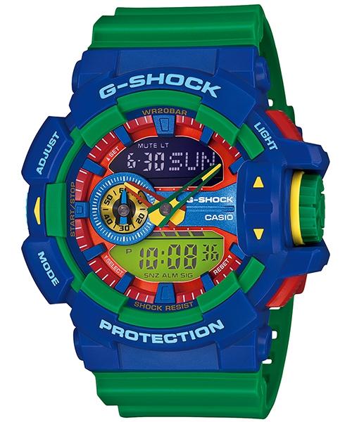 國外代購 CASIO G-SHOCK GA-400-2A 雙顯 大錶面 運動防水手錶腕錶電子錶男女錶 藍綠樂高