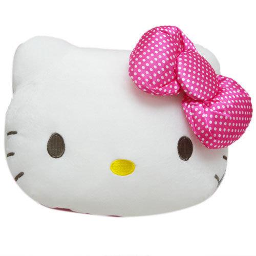 【真愛日本】13120700005 頭型抱枕-白點蝴蝶結L   KITTY 凱蒂貓 三麗鷗 絨毛 抱枕 靠枕