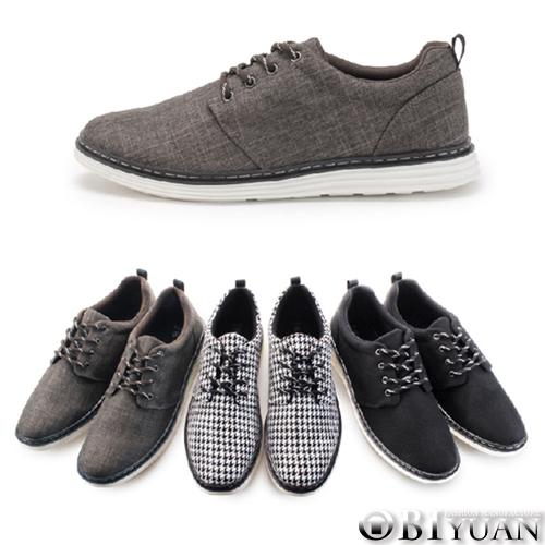 MIT手工休閒鞋【QDEP01】OBI YUAN 英倫風單寧布面十字紋舒適輕量紳士皮鞋 共3色
