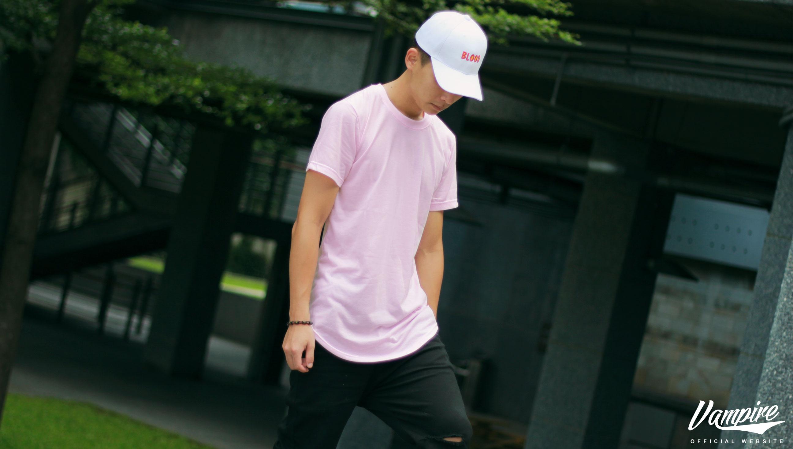 『 FREED ONLINE SHOP 』16 S S 素面長版圓弧 TEE 粉紅色