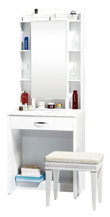 【尚品傢俱】JF-092-3 妮可拉2尺白色鏡台(含椅)
