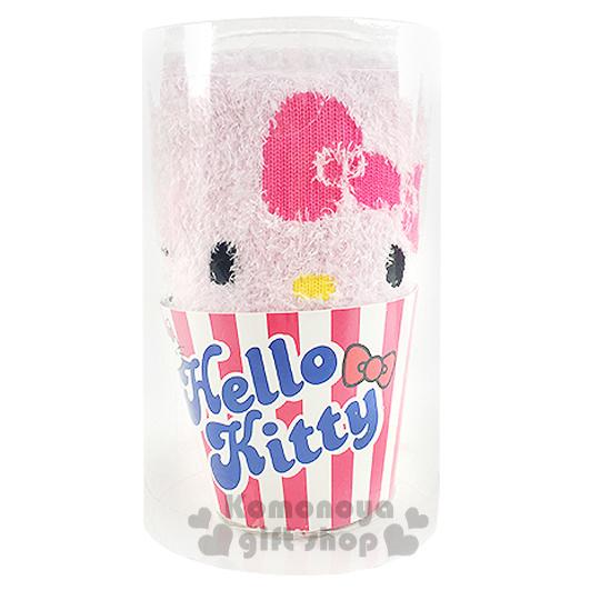 〔小禮堂〕Hello Kitty 成人保暖襪《粉.大臉.杯子蛋糕造型》適穿腳長23-24公分