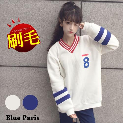 上衣 - V領條紋內刷毛運動風長袖T恤【29199】藍色巴黎 《2色》現貨 + 預購