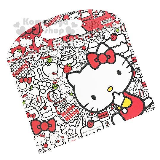 〔小禮堂〕Hello Kitty 線圈素描本《白.側坐.咬手指.食物滿版》可提