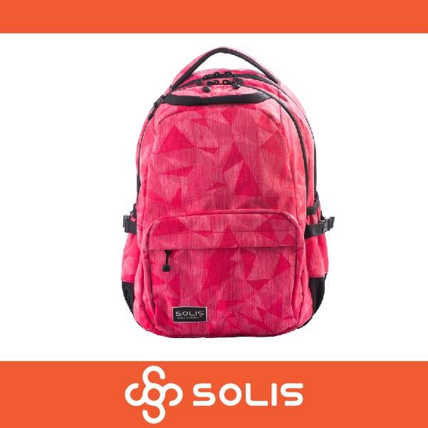 【買就送筆袋】SOLIS B05018 稜鏡嬉戲系列 Ultra+ 小尺寸前袋款電腦後背包 可放置筆電 防潑水 深粉色 萬特戶外運動