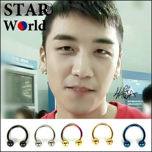 BIGBANG 勝利 同款韓國웨이크업 C形圓桿雙圓珠穿刺耳環 (單支價)