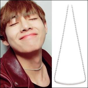 BTS V 同款韓國프루타 橫條銀片圓珠細項鍊