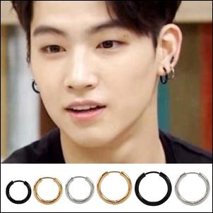 【 特價 】GOT7 JB 林在範 同款韓國라이징厚圈鈦鋼圓環耳環 (單支價)