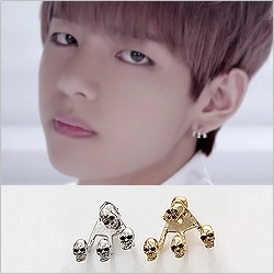 | Star World。Earring |  BTS V 同款三角點骷髏耳釘耳環 (單支價)