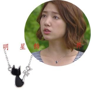 你為我著迷 朴信惠 戴的迷你立體貓咪鑲鑽項鍊