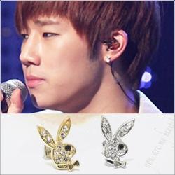 | Star World。Earring | INFINITE 聖圭 公開場合出現頻率最高的領結兔子造型鑲鑽耳釘耳環 (單支價)