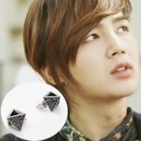 | Star World。Earring |  張根碩 同款鏤空金字塔造型鑲鑽耳釘耳環 (單支價)
