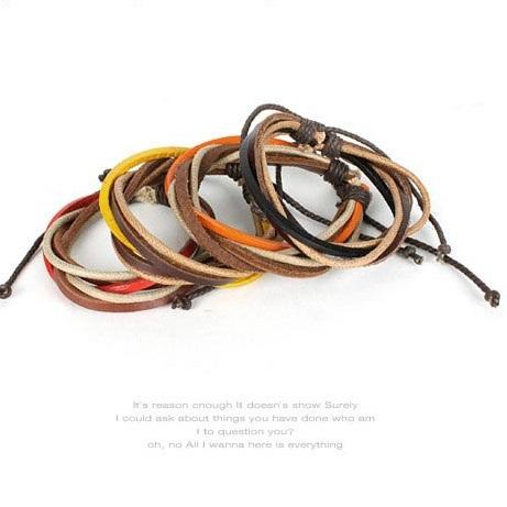 | Star World。Bracelets |  時尚流行型男百搭彩色蠟繩皮革手環手鍊