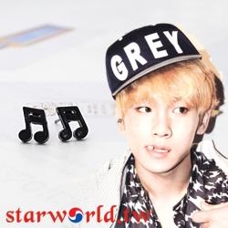   Star World。Earring    SHINee Key 同款簡潔設計黑色十六分音符造型耳釘耳環 (單支價)