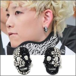 【特價】B.A.P ZELO 同款黑白面具全鑽耳釘耳環 (單支價)