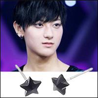 EXO TAO 同款立體五角水晶小星星耳釘耳環 ( 單支價 )