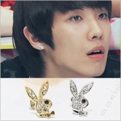 | Star World。Earring |  MBLAQ 李準 同款領結兔子造型鑲鑽耳釘耳環 (單支價)