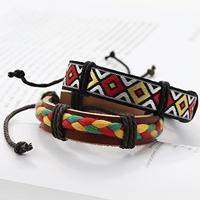 VIXX Ken 同款花紋編織皮革手環