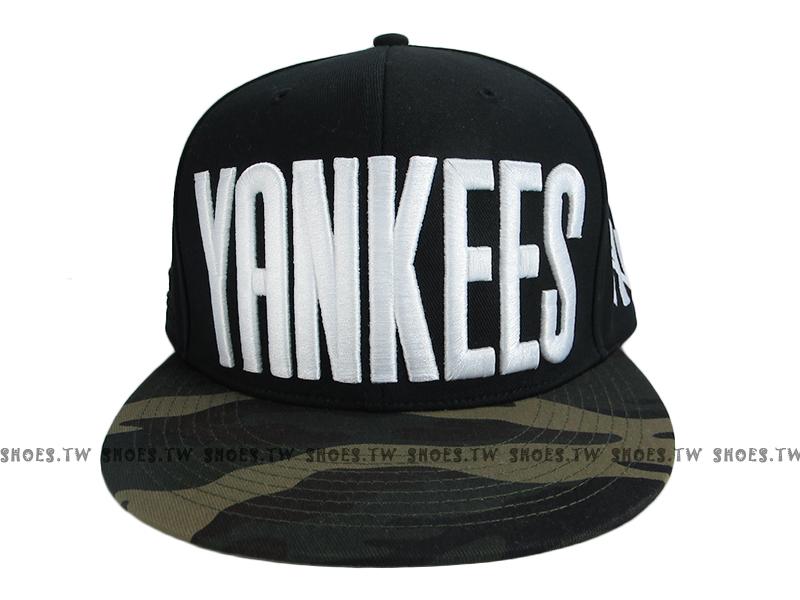 《降價7折》Shoestw【5562003-025】MLB 棒球帽 調整帽 潮流帽 洋基隊 黑綠迷彩 大字款