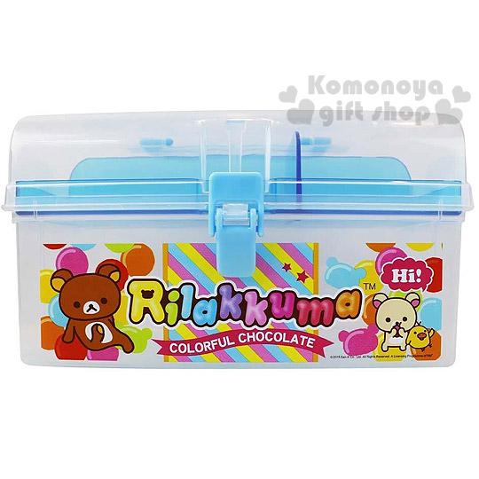 〔小禮堂〕懶懶熊 拉拉熊 手提雙層收納箱《透明.藍.氣球派對》可當珠寶盒或工具盒